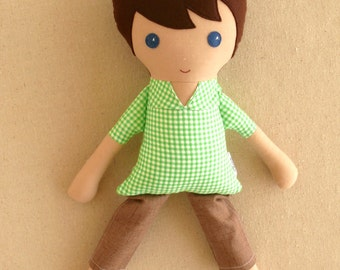 Fabric Doll Rag Doll Brown Haired Boy Doll in Green Check Shirt and Khaki Shorts