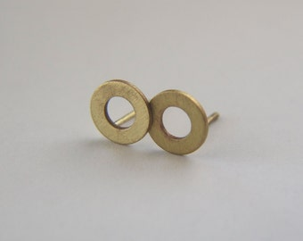 Gold Circle Studs - Brass washer post earrings