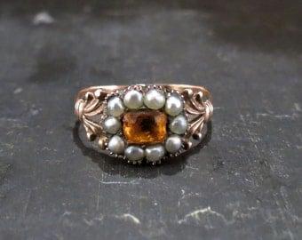 Georgian Paste and Split Pearl Ring 9k c. 1830, Antique Ring, Vintage Ring