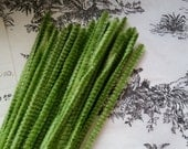 2 Dozen Beautiful Vintage Moss Green Chenille Stems | Pipe Cleaners | Wired Sticks | Craft Supply | NOS | LIMITED SUPPLY