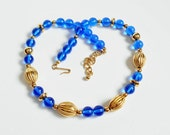 Blue and Gold Bead Necklace, Royal Blue Translucent 20 Inch Vintage Plastic Beaded Necklace