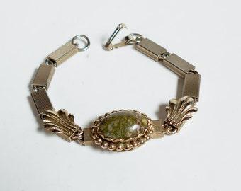 Vintage Bracelet Green Jasper Agate Stone River Rock Bar Link Silver Chain, Unique Vintage Jewelry
