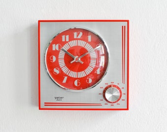 Space age clock, 70s kitchen clock egg timer, Peter clock, red wall clock 70s Mid-Century