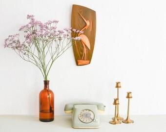 Teak crane wall decor, stork wall decor, 60s wall decor, Mid-Century wall decor, baby gift