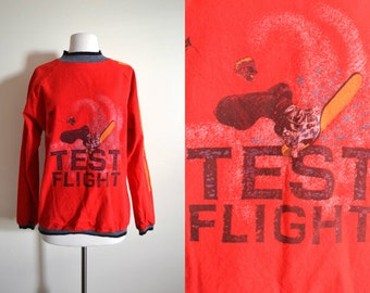 80s Static Snowboard Sweatshirt, Bright red, Racing Stripes, Test Flight Sweater