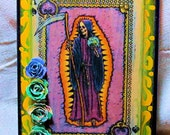 Santa Muerte, Dia de los Muertos, Ace of Spade, Santisima Muerte, Altered Art, Playing Card, Day of the Dead, Waterslide Decal, Wall Decor