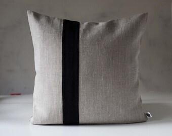 Decorative pillow - black line throw - Color block pillows Linen cushion case/Natural linen pillow covers - cushion cover - home decor
