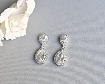 Crystal Teardrop Earrings, Crystal Bridal Drop Earrings, Bridal Jewelry, Bridesmaid Earrings KAYO