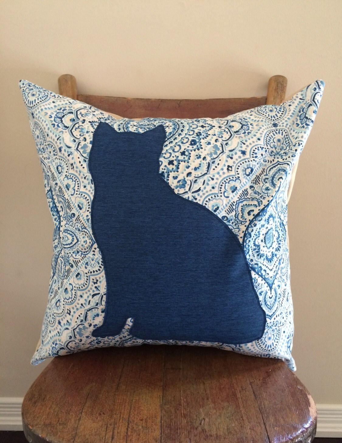 Cat Pillow Cover 18x18 Contemporary Pattern Modern