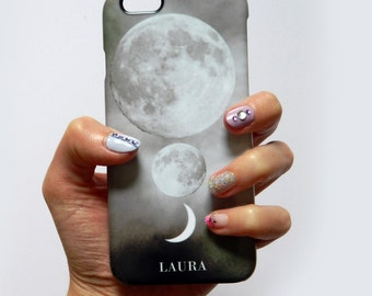 Luna Moon Trio monogram phone case - white initials for iPhone 7 PLUS, iPhone 7, 6/6s PLUS, iPhone SE, Samsung Galaxy S7, Samsung Galaxy S6