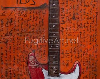 Guitar Artwork. Doug Martsch 1987 Fender Stratocaster Plus. 11x17 electric guitar art print. Built To Spill