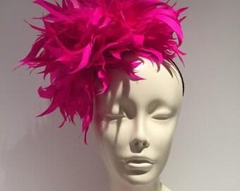 Hot pink Fascinator- Horse racing Fascinator- Hot pink Feather Hat- Tea Party Fascinator- Pink Fascinator- Pink Headpiece- Contest Winner