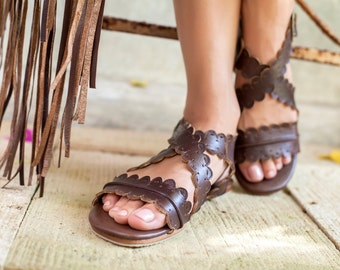 MERMAID. Brown leather sandals / women shoes / women sandals / leather shoes/ boho shoes. Sizes 35-43. Available in different leather colors