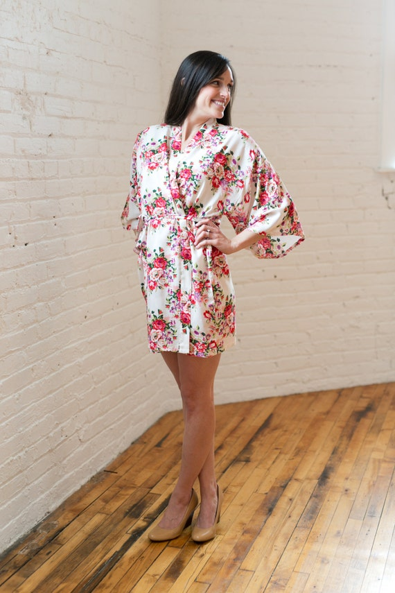 Ivory Cotton Floral Robe