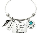 A Piece of My Heart Lives In Heaven- Personalized Memorial Bangle - Miscarriage Remembrance - Miscarriage Bangle - Infant Loss Jewelry