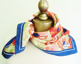 Vintage silk scarf, COACH silk scarf, square silk scarf, summer neckerchief, floral silk scarf, summer silk square
