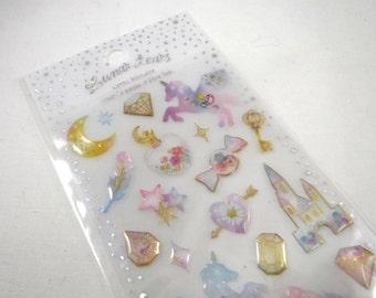 Kawaii Japan Sticker Sheet Assort Epoxy Glitter Drop Lunar Tears: FAIRY TALE Castle Unicorn Watercolor Pastel Feather Delicate R
