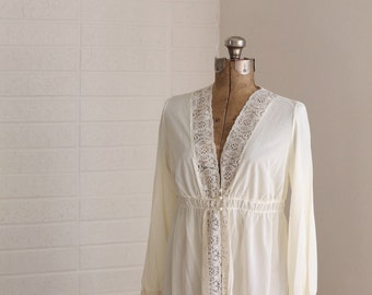 The Mary Peignoir Jacket | Vintage Ivory Bed Jacket | Lace Detail