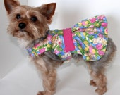 Easter Dog Dress, SX S M L, Bunny and floral designer Dresses for dogs, Holiday Pet Clothing, Fashion Dog Clothes