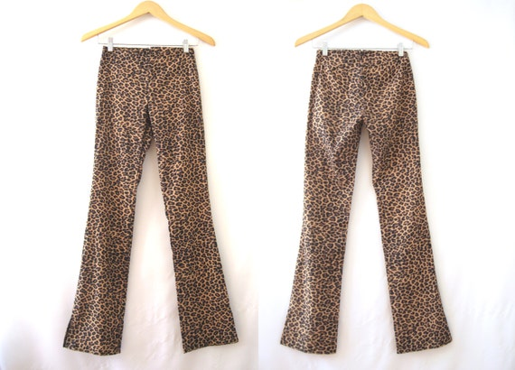 90s Leopard Print Bootleg Pants Flares Disco Club Kid Goth Grunge Rave Boho // S