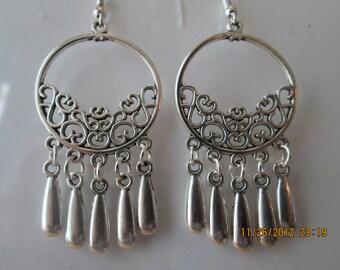 Silver Tone Chandelier Earrings with Silver Tone Teardrop Charm Dangles