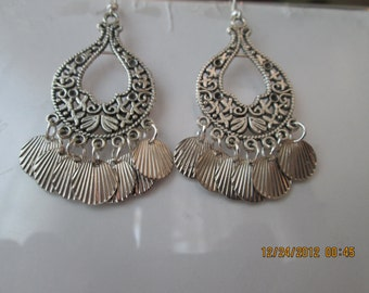Silver Tone Chandelier Earrings with Silver Tone Shell Charm Dangles