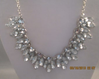 Clear Crystal Necklace on a Silver Tone Chain