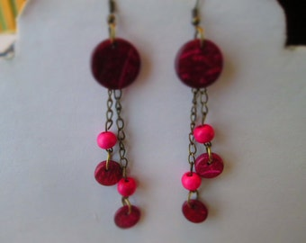 SALE Dangle Earrings with Pink Wooden Beads on Bronze Tone Chains
