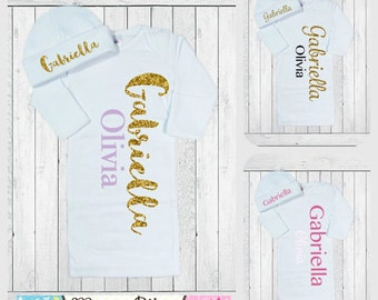 Newborn Girl Personalized Gift, Baby Girl Take Home Outfit, Baby Girl Coming Home, New Baby Gift, Coming Home Set, Customize Colors and Font