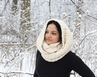 Chunky crochet cowl, Hooded scarf, Hooded cowl - The Guenevere Cowl - Oversized scarf, Crochet cowl