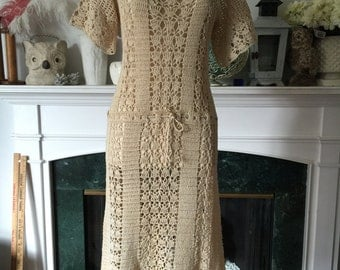 70s Crocheted Cotton Boho Dress