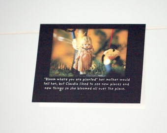 """Holiday Card Folded Photo Card Envelope (1) Porcelain Doll Claudia """"Bloomed All Over The Place"""" """" Christmas Card"""