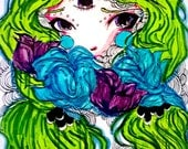 Fantasy Art - Original Art - Small Original art - Anime art - Marker art - Wall art - Drawing