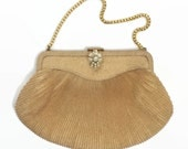 Gold 1960's Purse - 60's Vintage Purse - RFC Vintage Handbag - Jewel Clasp - Cocktail Purse | Evening Bag
