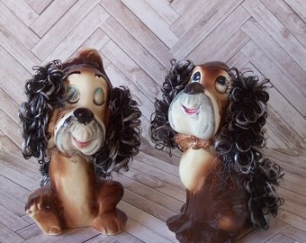 Fun Whimsical Vintage Cocker Spaniel Figurines Japan Curly Ears and Tail