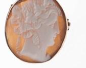 Vintage Shell Cameo Brooch Pendant 9K Hallmarked