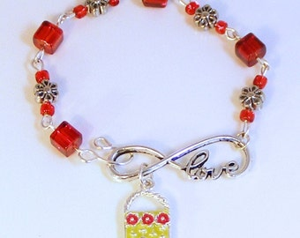 """Red - I LOVE SHOPPING - Bracelet - Infinity Link """"Love"""" - Purse Charm - Red Glass Cube Beads - Flower Beads"""