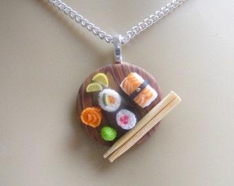 Food Jewelry Sushi Necklace, Sushi Pendant, Sushi Jewelry, Miniature Food, Polymer Clay Mini Food Jewellery Food Necklace Sushi Charm Kawaii