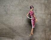 Fabulous Fashion Brooch, Pink Vintage Frock Brooch, Made in Australia, Fun Retro Style Wooden Brooch