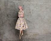 Fabulous Fashion Brooch, Patterned Sun Dress, Vintage Frock Brooch, Made in Australia