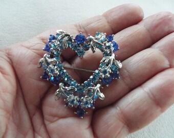 blue rhinestone open heart silver brooch pendant budget jewelry