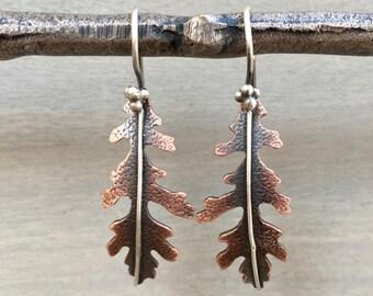 Oak Leaf Earrings Copper - Copper Oak Leaf Earrings - Leaf Earrings Copper - Oak Leaf Jewelry - Leaf Jewelry