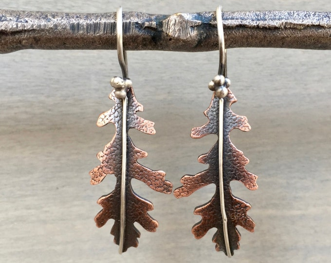 Oak Leaf Earrings Copper - Copper Oak Leaf Earrings - Leaf Earrings Copper - Oak Leaf Jewelry - Leaf Jewelry