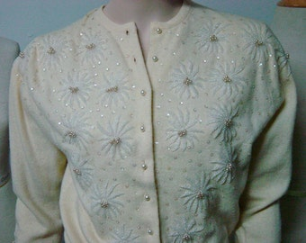 The BEST 1950s Beaded Butter Color Pearl Button Mohair(?) Lined Sweater Bust 40 Waist 32