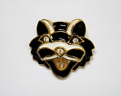 Vintage 1980's Big Cat Brooch with Rhinestone Eyes