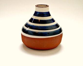 Striped Pottery Bud Vase by Laura McCrossen, Fish Pye Pottery, St. Ives