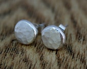 Recycled Textured Sterling Silver Stud Earrings, Organic Earrings, Eco Friendly, Gift For Her