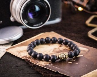 8mm - Matte black beaded gold Buddha stretchy bracelet, black bracelet, made to order yoga bracelet, mens bracelet, womens bracelet
