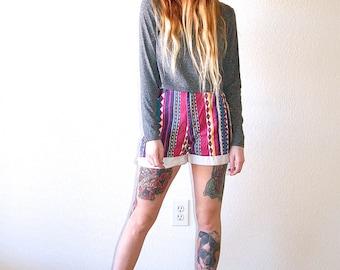 High Waisted 90's Bright Tribal Fresh Prince Aztec Print Southwestern Denim Shorts // Women's Small S 26 27