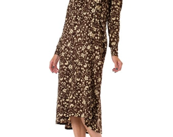 1920s Two-Tone Floral Printed Long Sleeve Silk Dress SIZE: M/L, 10